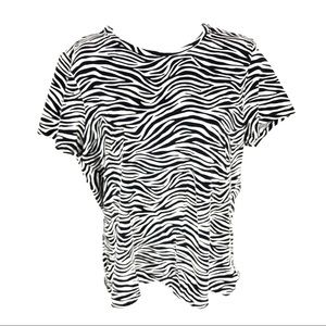 Michael Kors Womens Black White Zebra Top XL